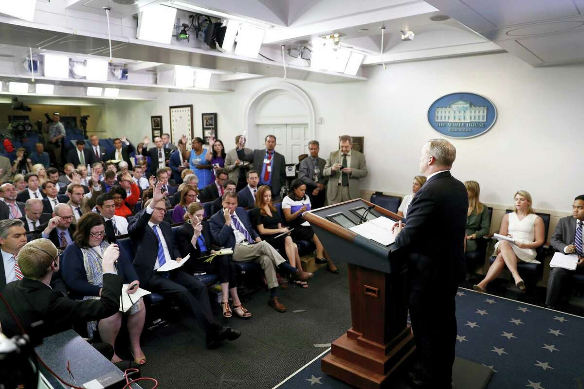 White House press secretary Sean Spicer speaks during a the daily briefing at the White House in Washington, Monday, June 26, 2017.