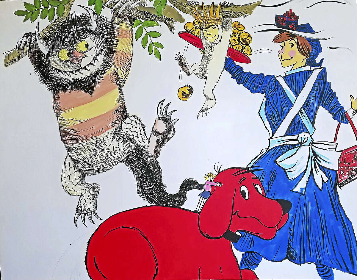 A sketched portion of the mural, to be created by Torrington artist Marc Stolfi, containing storybook characters from many favorite books.