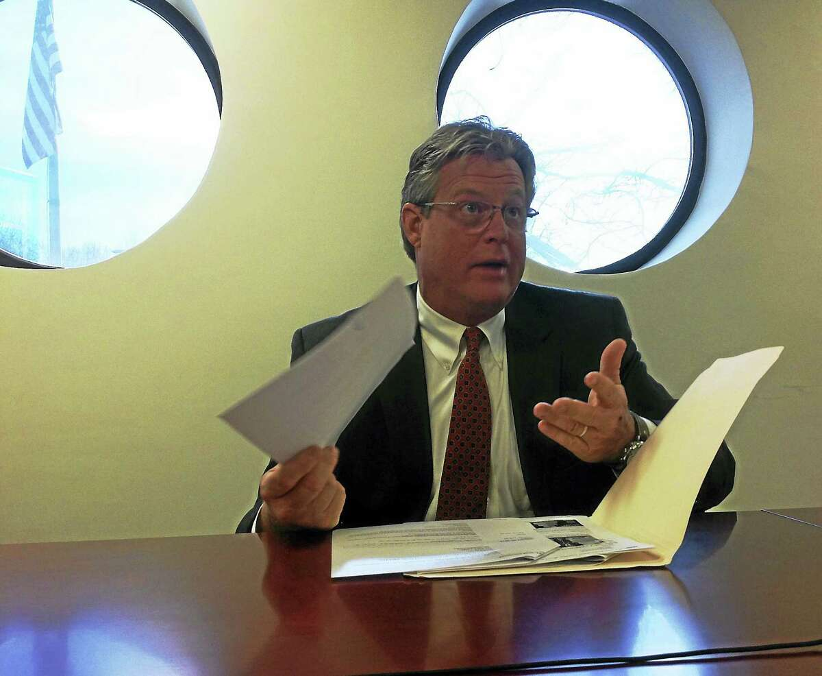 (New Haven Register) State Sen. Ted Kennedy Jr., D-Branford, co-chairman of the General Assembly's Environment Committee, speaks to the New Haven Register Editorial Board.