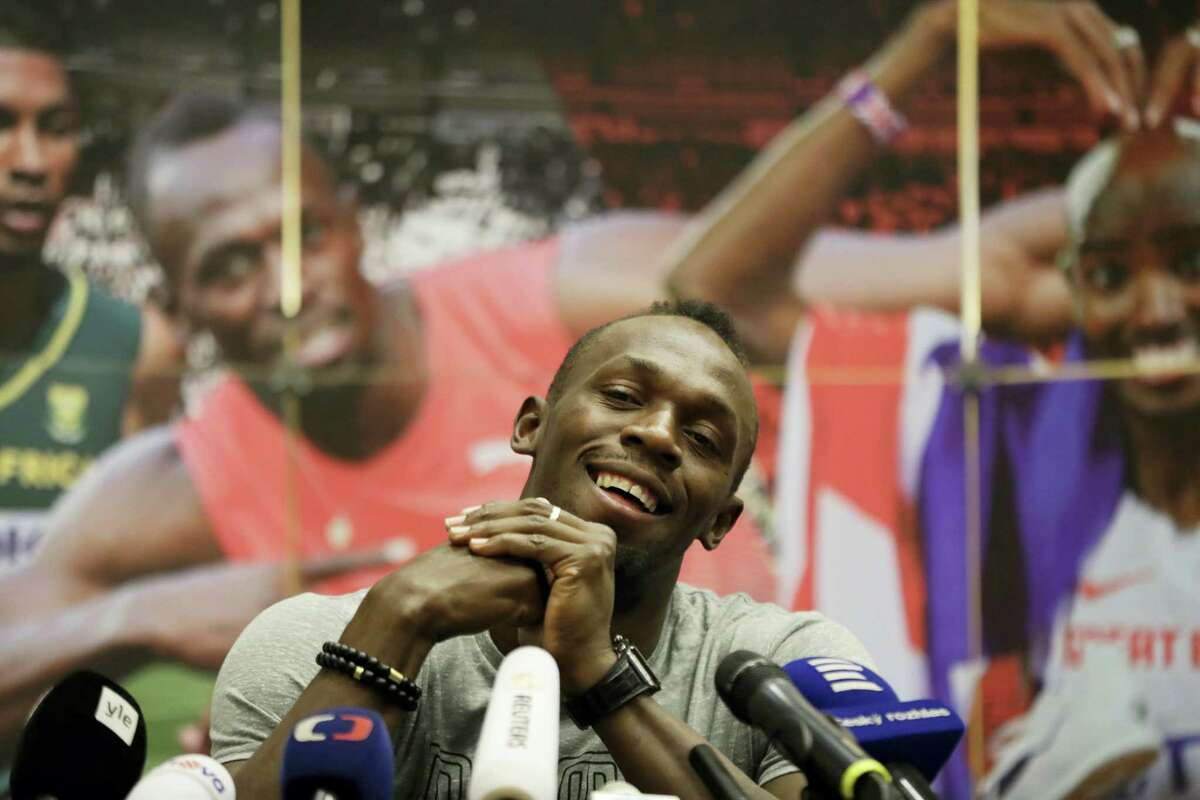 Jamaica's sprinter Usain Bolt smiles during a press conference prior the Golden Spike Athletic meeting in Ostrava, Czech Republic, Monday, June 26, 2017. Bolt will compete in the 100 meters at the Golden Spike on June 28, 2017.