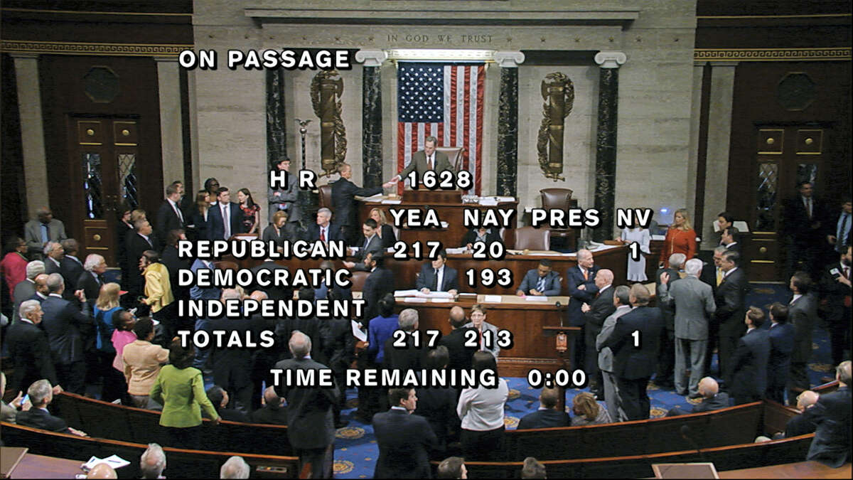 House Television via the associated press In this image provided by House Television, the final total on the vote on the Republicans health care bill is displayed at the Capitol in Washington.