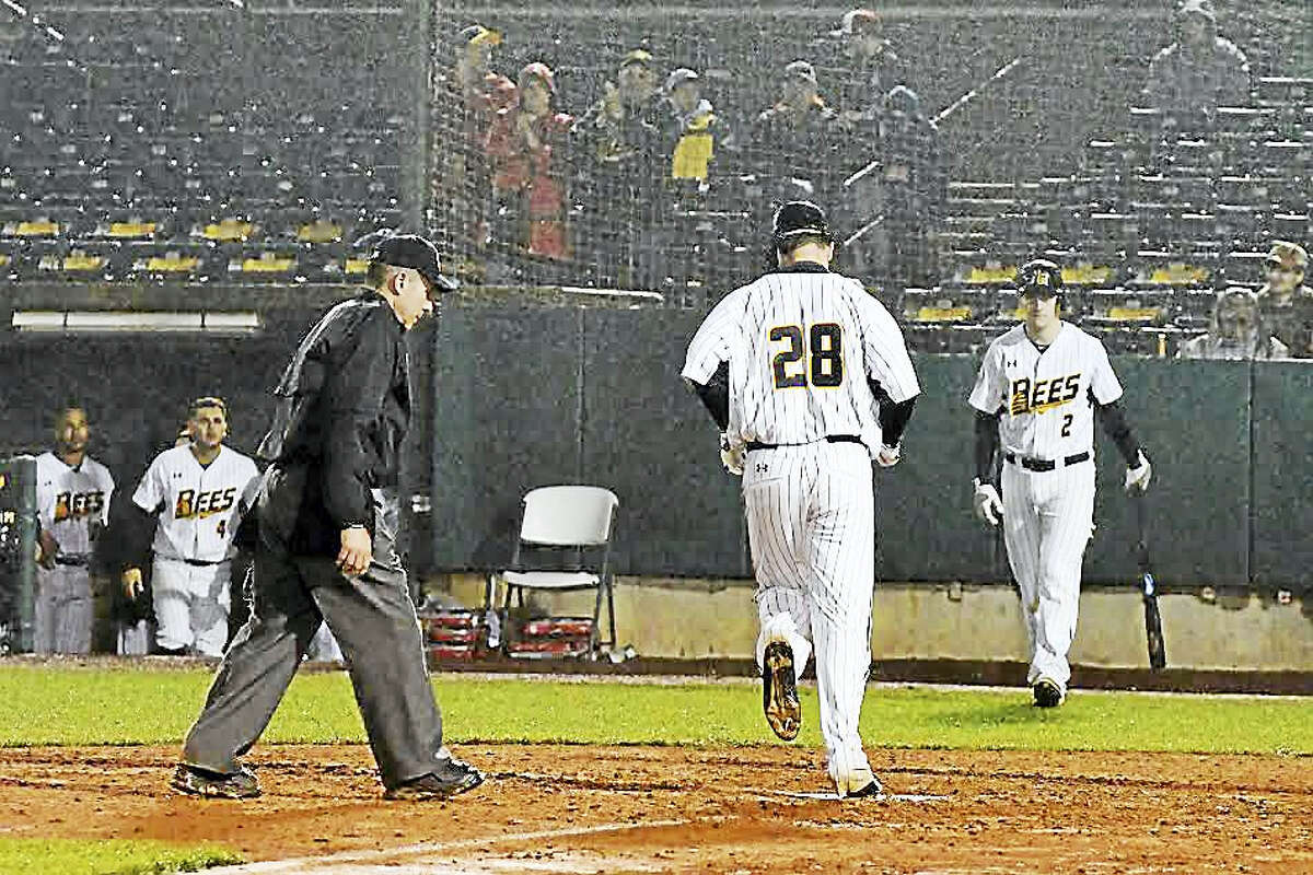 Torrington's Conor Bierfeldt crosses home plate after hitting one of his two homers in New Britain Bees' opening-night loss on April 21.