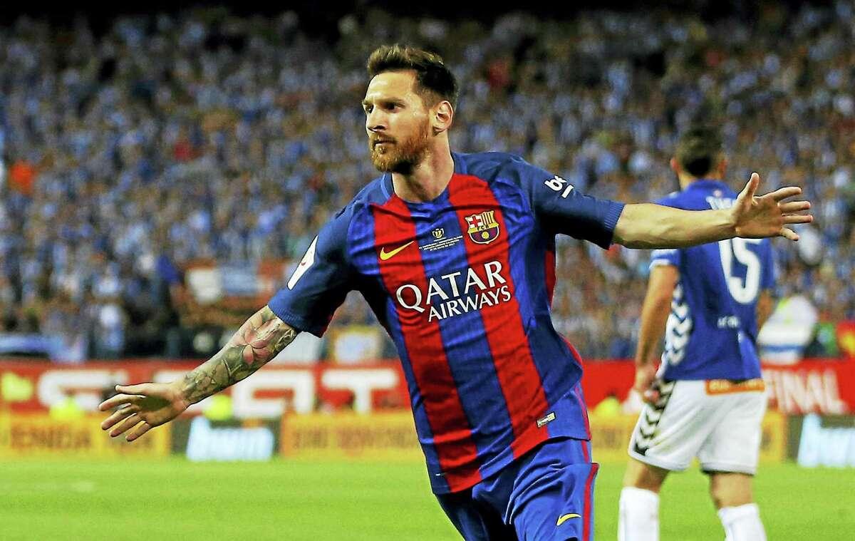 Barcelona's Lionel Messi celebrates after scoring a goal.