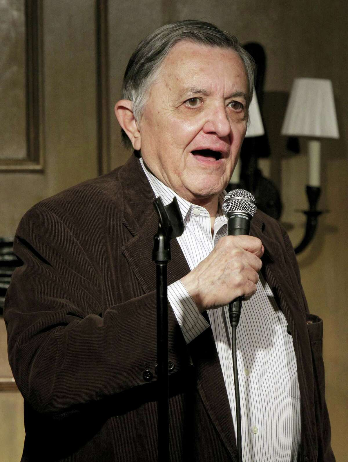 This photo from Monday, March 28, 2011, shows broadcast reporter Gabe Pressman as he appears at the Friar's Club, in New York. Pressman, an intrepid, Emmy-winning journalist who still relished going to work at the age of 93, died early Friday, June 23, 2017 at a Manhattan hospital.