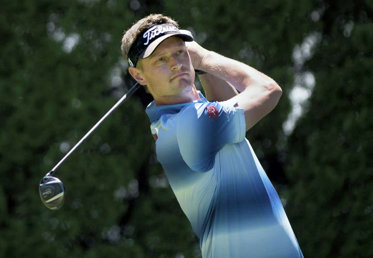 Brett Stegmaier tees off on the ninth hole during the first round of the Travelers Championship Thursday in Cromwell.