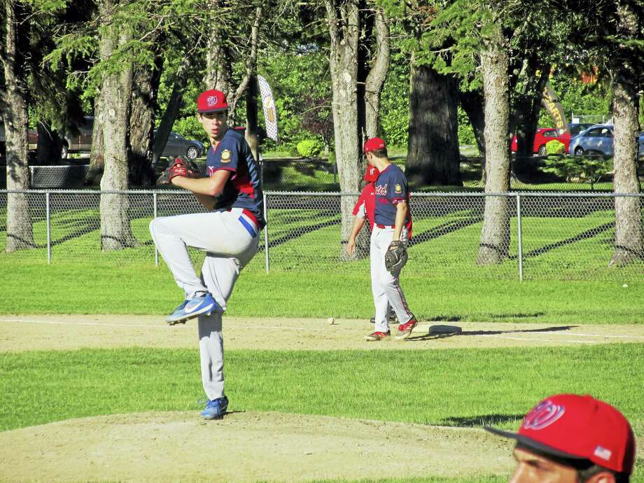 Winsted pitcher Ryan Sholtis heads for Amherst College this fall after a stellar career at The Gilbert School and, this summer, with Winsted's Post 43 American Legion team. Photo: Photo By Peter Wallace