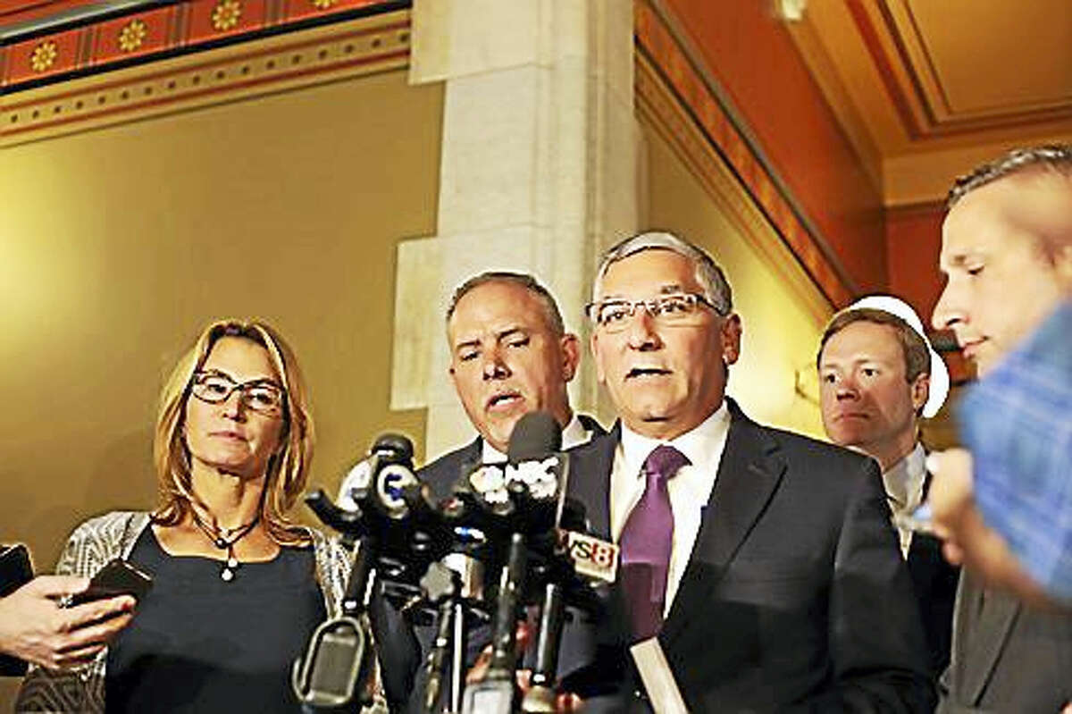 Senate Republican Leader Len Fasano, House Speaker Joe Aresimowicz and House Minority Leader Themis Klarides