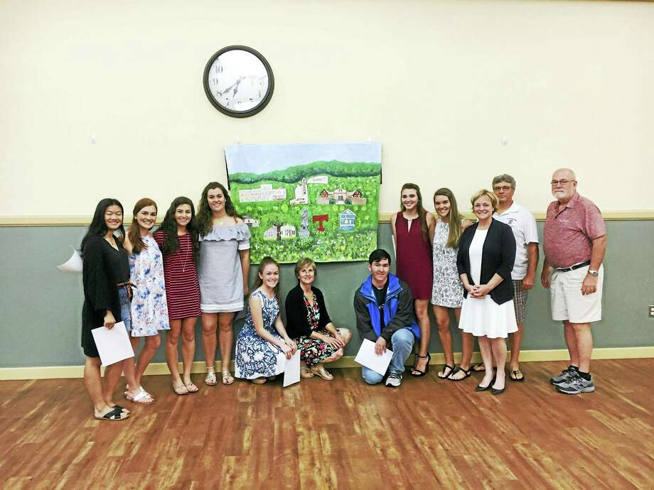 Students with the unified arts program at Torrington High School painted a mural depicting some of the landmarks of the city. Photo: CONTRIBUTED PHOTO