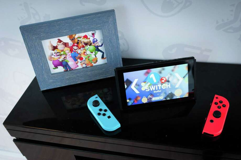 The Nintendo Switch game console on display during the company's launch event in New York on March 3. Photo: Bloomberg Photo — Kholood Eid  / Bloomberg