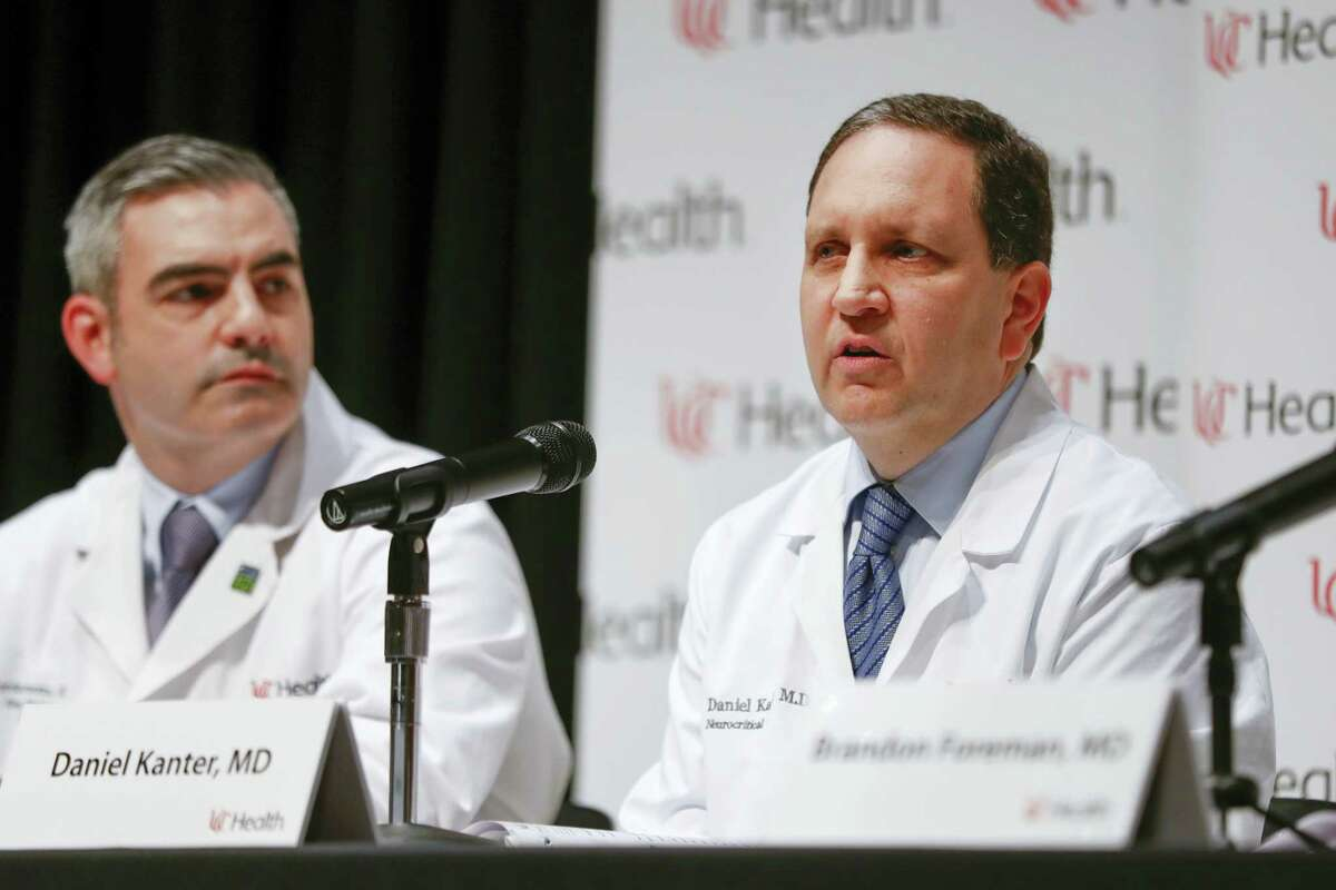 Daniel Kanter, medical director of the Neuroscience Intensive Care Unit, right, speaks alongside Jordan Bonomo, a neurointensivist, left, during a news conference regarding Otto Warmbier's condition, Thursday, June 15, 2017, at University of Cincinnati Medical Center in Cincinnati. Warmbier, who serving a 15-year prison term for alleged anti-state acts in North Korea, was released to his home state of Ohio on Tuesday in a coma.