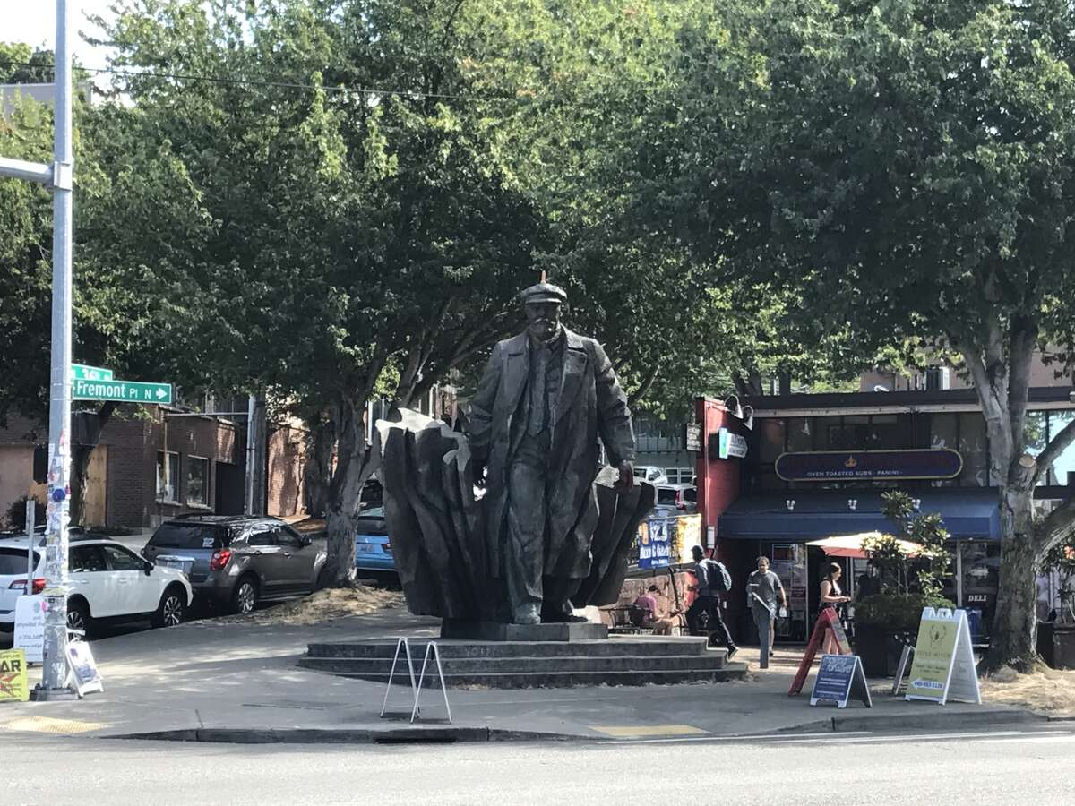 A dildo appeared on top of Fremont's Lenin statue, Friday, August 25, 2017. A group calling themselves Operation UNICORN placed it there Thursday night as a political statement.