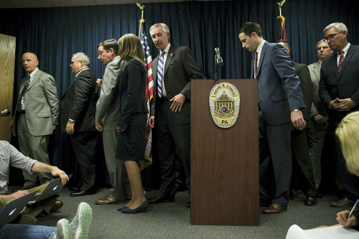 District Attorney Kevin Steele walks from the podium at the end of a news conference after a mistrial in Bill Cosby's sexual assault case in Norristown, Pa., Saturday, June 17, 2017. Cosby's trial ended without a verdict after jurors failed to reach a unanimous decision.