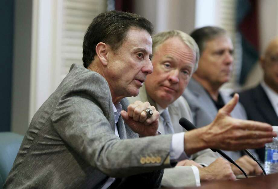 Louisville coach Rick Pitino speaks during a news conference Thursday in Louisville, Ky. Photo: Pat McDonogh — The Courier-Journal Via AP  / The Courier-Journal