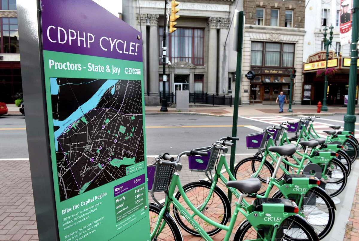 CDPHP Cycle! is scheduled to resume Monday. Bicycles available for rent through the CDPHP Cycle! bike share program operated by CDTA are parked at the State and Jay Street stand across from Proctors on Aug. 25, 2017, the year the program launched. (Will Waldron/Times Union)