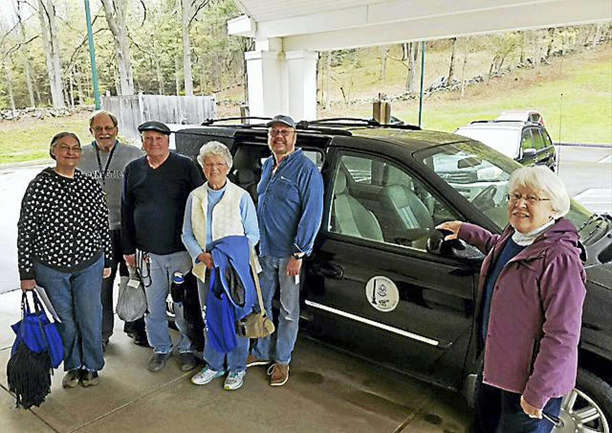 From left are Betty Hoffman, Bob Budney, Al Caton, Pat Sobocinski, van driver Bob Hughes and Friends of the Woodbury Senior Community Center secretary Larae Graham.