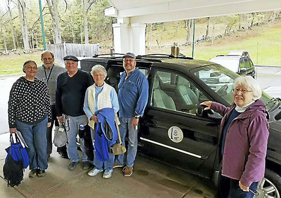 From left are Betty Hoffman, Bob Budney, Al Caton, Pat Sobocinski, van driver Bob Hughes and Friends of the Woodbury Senior Community Center secretary Larae Graham. Photo: Contributed Photo — Friends Of Woodbury Senior Community Center