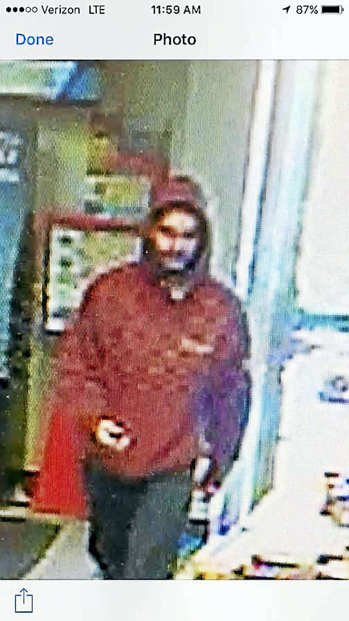 Matthew Small was charged with two robberies in Seymour after police posted these surveillance pictures on Facebook