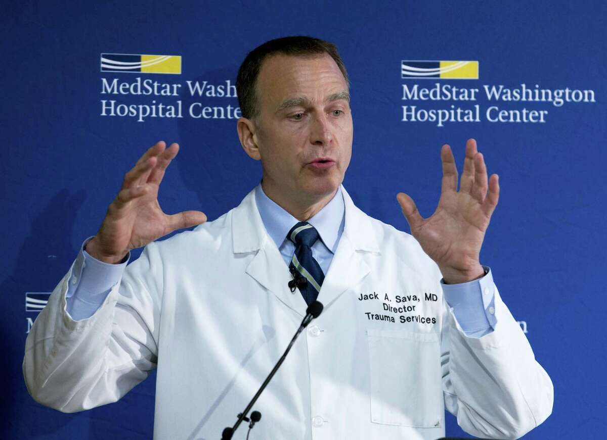 MedStar Washington Hospital Center Director of Trauma Dr. Jack Sava speaks during a news conference in Washington, Friday, June 16, 2017, about the condition of House Majority Whip Steve Scalise of La. who was shot in Alexandria, Va., Wednesday, June 14, 2017, during a congressional baseball practice.