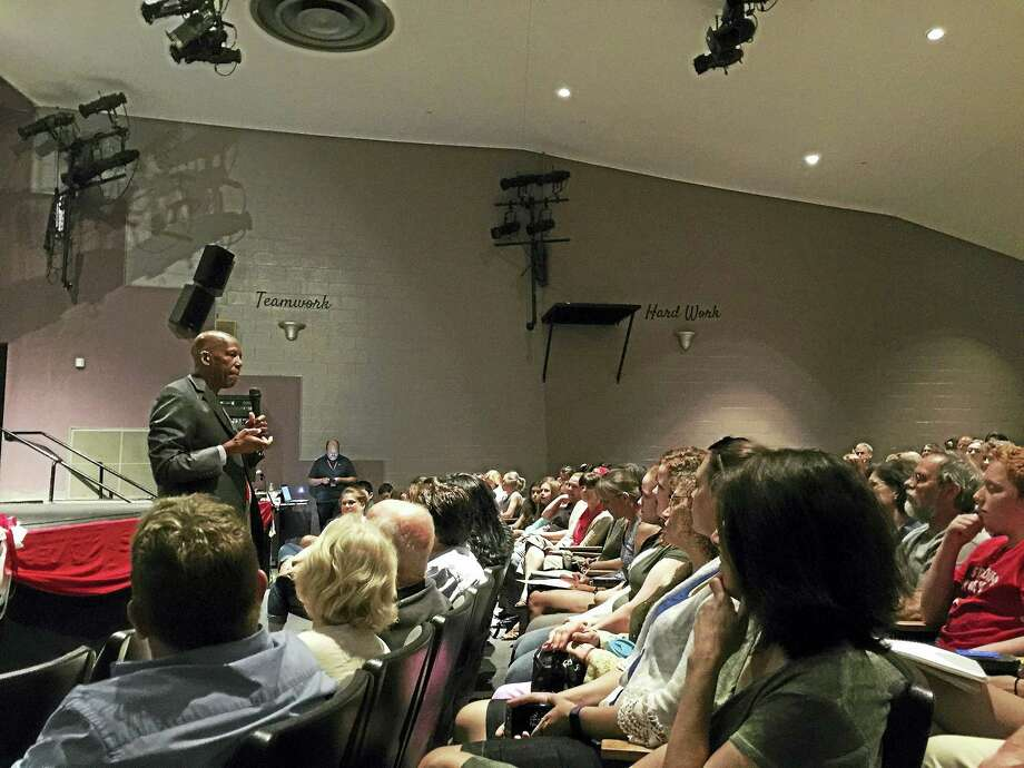 """BEN LAMBERT — HEARST CONNECTICUT MEDIA Dr. Terrence Roberts speaks with members of the Northwestern Regional community Wednesday evening in Winsted. Roberts, one of the """"Little Rock Nine"""" who was sent to an all-white school in Little Rock, Ark., in the late 1950s, is now a public speaker who shares his experiences with young people around the country. Photo: Digital First Media"""