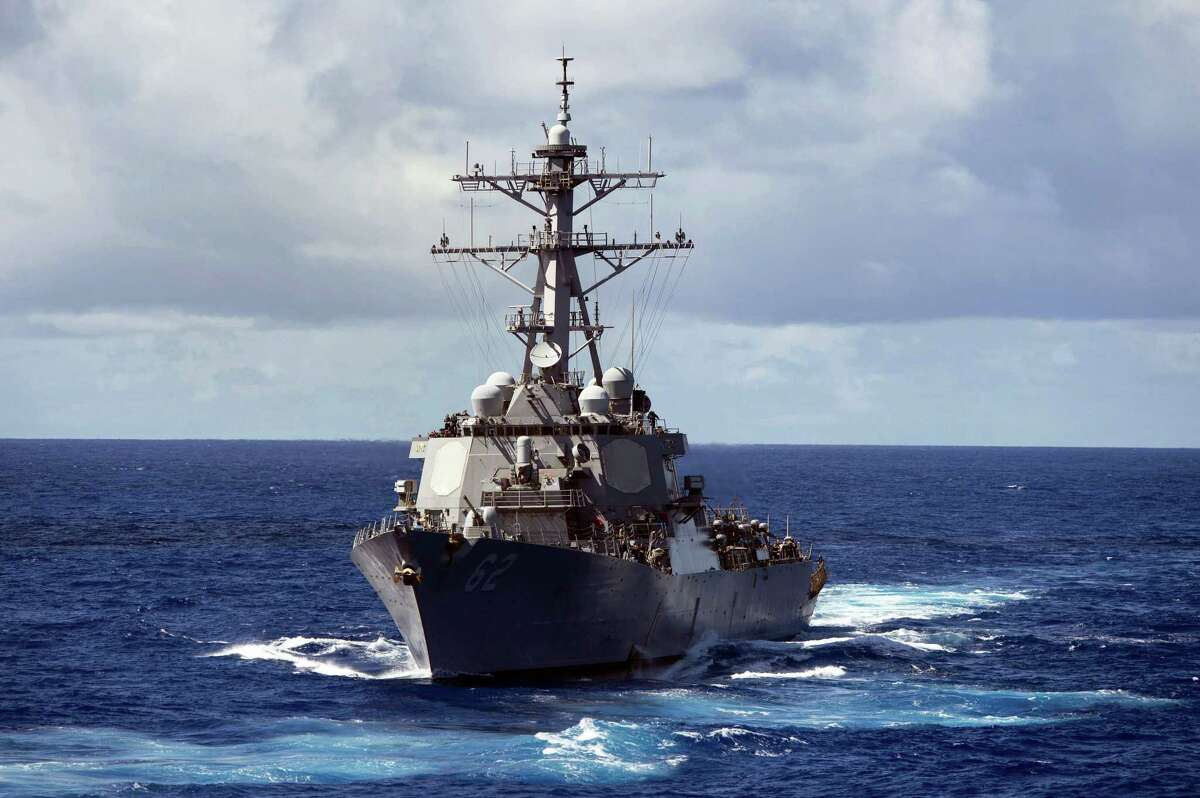 In this Aug. 20, 2013 photo, the guided-missile destroyer USS Fitzgerald (DDG 62) makes its way through the Pacific Ocean. The U.S. military said the Navy destroyer collided with a merchant ship off the coast of Japan and said there have been injuries. In a brief written statement, U.S. Pacific Fleet in Hawaii said the Navy has requested assistance from the Japanese Coast Guard.