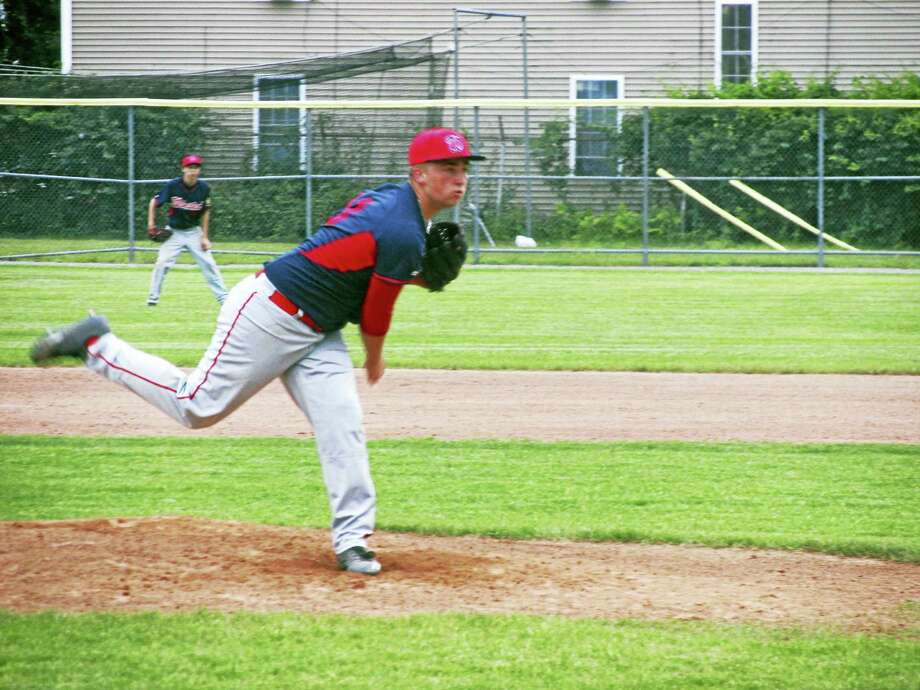 Chad Closson finished off a win over Torrington for pitching-rich Winsted on Thursday at Fuessenich Park. Photo: Photo By Peter Wallace
