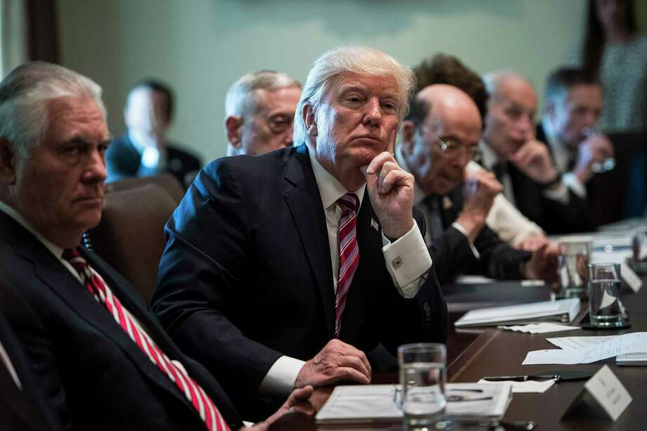 President Donald Trump listens during a Cabinet meeting in the White House on Monday. Photo: Washington Post Photo — Jabin Botsford  / The Washington Post