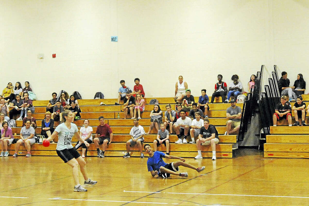 Torrington Middle School students and staff took part in a dodgeball tournament and pieing to raise funds for charity and the school debate team.