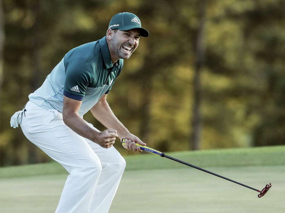 In this April 9, 2017, file photo, Sergio Garcia, of Spain, reacts after making his birdie putt on the 18th green to win the Masters golf tournament in a playoff in Augusta, Ga. Garcia is loving his time at the U.S. Open, having finally captured the major that eluded him. He knows what's done in the past guarantees nothing. Nobody has learned that lesson in a more public fashion than Garcia.