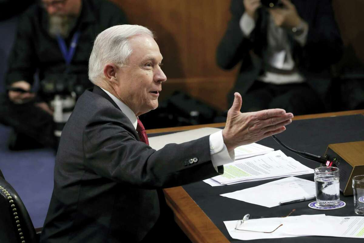 Attorney General Jeff Sessions testifies Tuesday on Capitol Hill in Washington before the Senate Intelligence Committee.