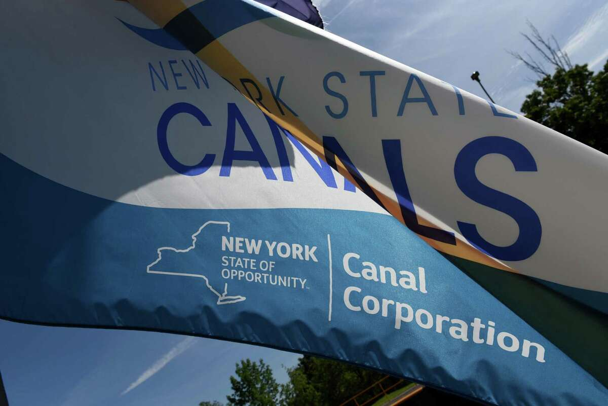 A New York Canal Corporation flag flies at Lock E5 on the Erie Canal on Thursday, Aug. 17, 2017, in Waterford, N.Y. (Will Waldron/Times Union)