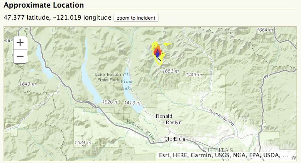 This Map Shows The Location Of The Jolly Mountain Fire Just North Of Cle Elum