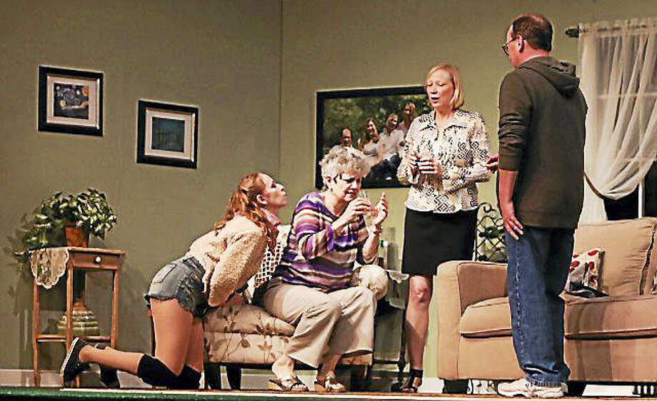 "The Goshen Players will present the comedy, ""Sylvia,"" by AR Gurney, a play about a middle-aged husband and his wife, empty nesters, and what happens when the husbands develops a friendship with a Labrador-poodle mix dog named Sylvia. Photo: Photos By Heather Boscarino"