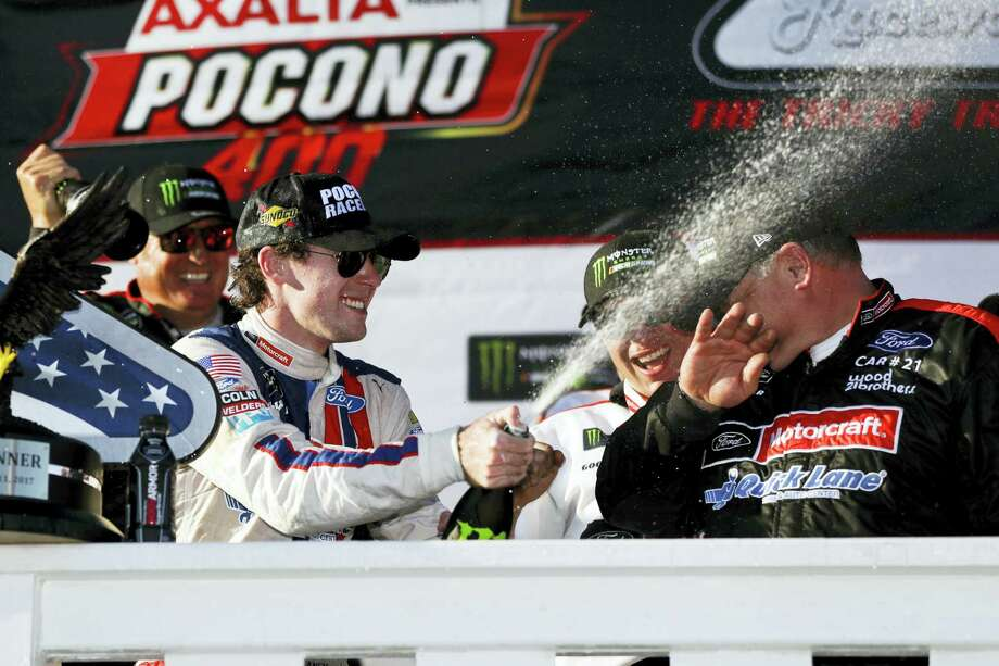 Ryan Blaney celebrates in Victory Lane after winning the Pocono 400 Sunday in Long Pond, Pa. Photo: Matt Slocum — The Associated Press  / Copyright 2017 The Associated Press. All rights reserved.