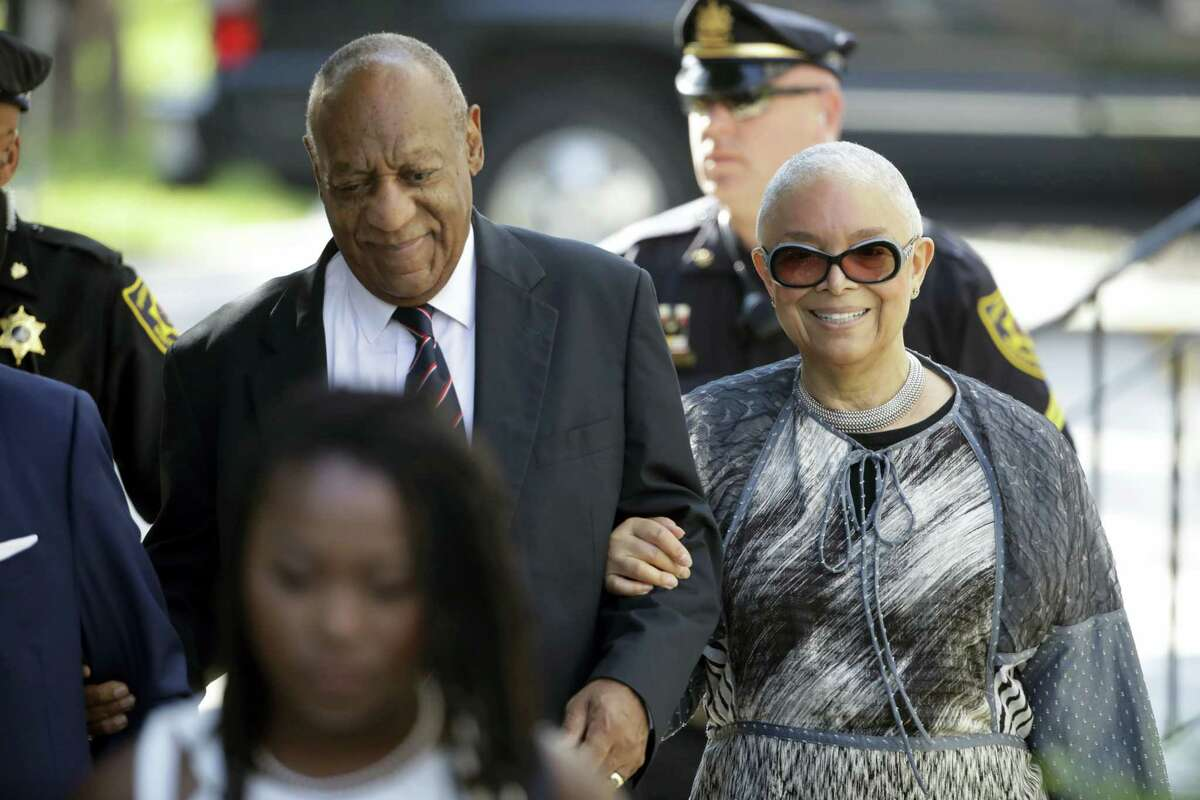 Bill Cosby arrives for his sexual assault trial with his wife Camille Cosby, right, at the Montgomery County Courthouse in Norristown, Pa. on June 12, 2017.