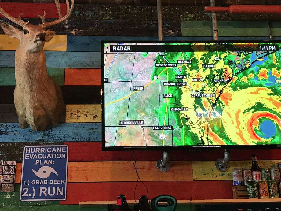 The folks at the Neches Brewing Company in Port Neches offer a little hurricane prep advice.Kim Brent/The Enterprise Photo: Kim Brent/The Enterprise