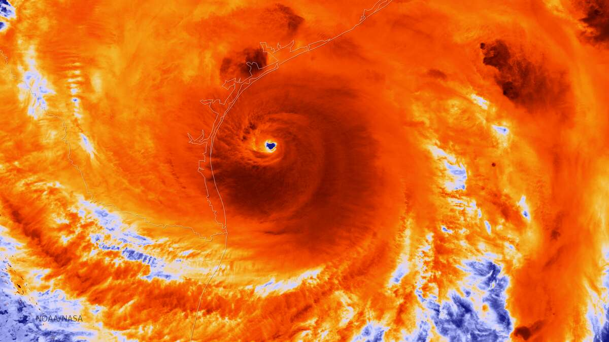 The NOAA/NASA Suomi NPP satellite captured this infrared image of Hurricane Harvey just prior to making landfall along the Texas coast on August 25, 2017. NOAA's National Hurricane Center has clocked Harvey's maximum sustained winds at 110 miles per hour with higher gusts. Infrared images like this one can help meteorologists identify the areas of the greatest intensity within large storm systems, such as the areas with the most intense convection, known as overshooting cloud tops (dark orange), surrounding the eye and along the outer bands.