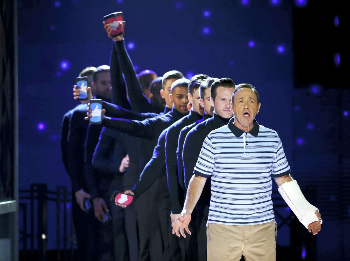 Kevin Spacey and the cast of Dear Evan Hansen perform at the 71st annual Tony Awards on Sunday in New York.