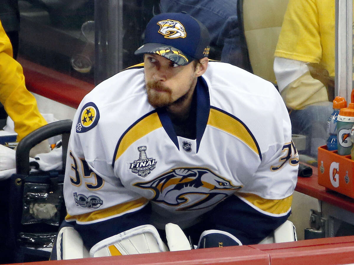 Predators goalie Pekka Rinne watches from the bench during the second period in Game 5 of the Stanley Cup Finals.