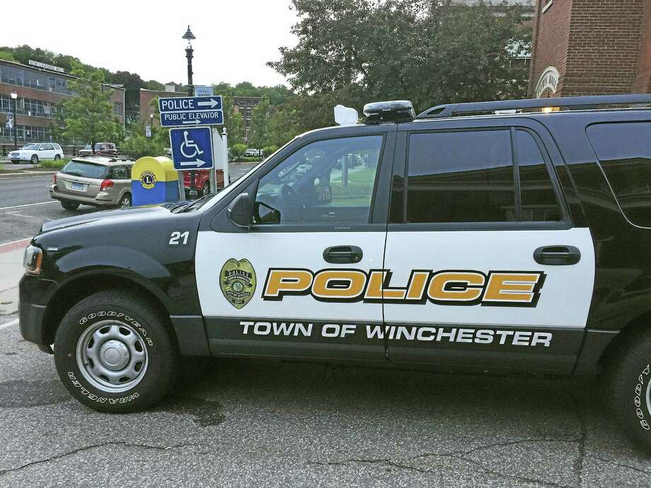 A Winchester police car, as seen outside of the department in Winsted. Photo: Ben Lambert — The Register Citizen