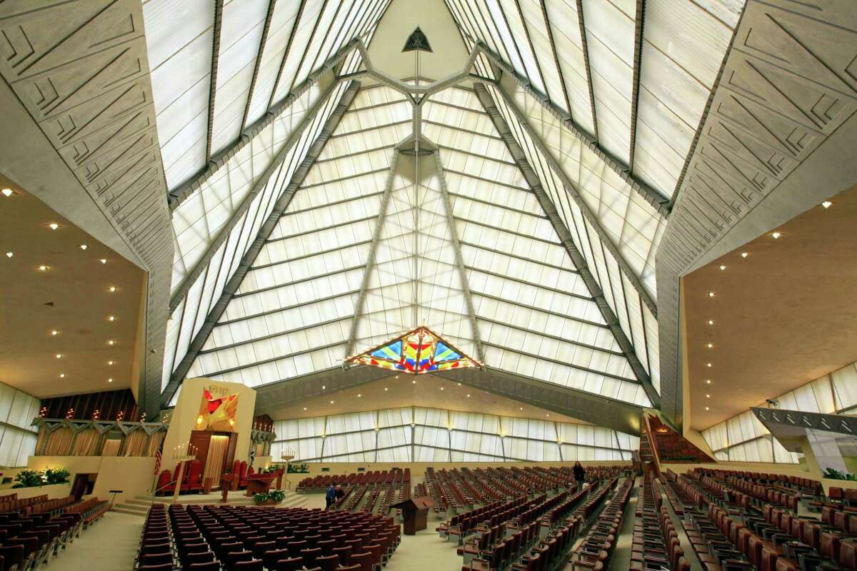This Nov. 9, 2009, photo shows the interior of Beth Sholom Synagogue, designed by Frank Lloyd Wright, in Elkins Park, Pa.