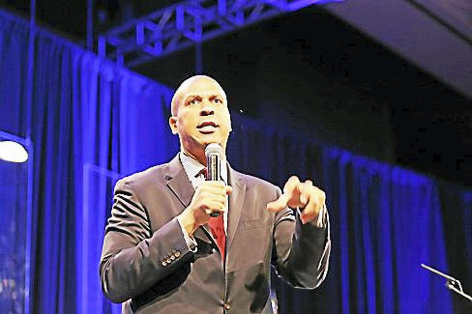 U.S. Sen. Cory Booker Saturday speaks at the Connecticut Convention Center. Photo: Christine Stuart/CTNewsJunkie