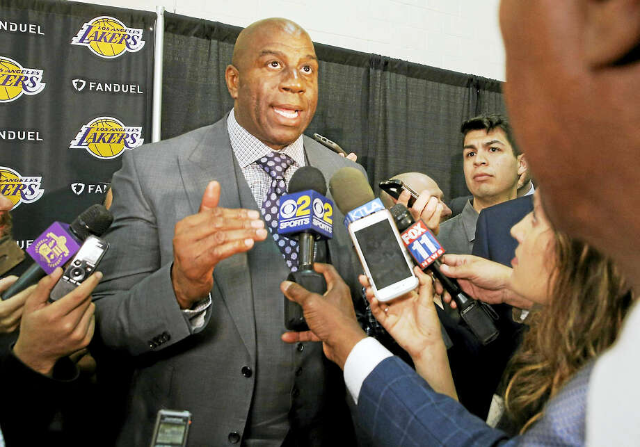 President of basketball operations for the Los Angeles Lakers Magic Johnson. Photo: The Associated Press File Photo  / Copyright 2017 The Associated Press. All rights reserved.