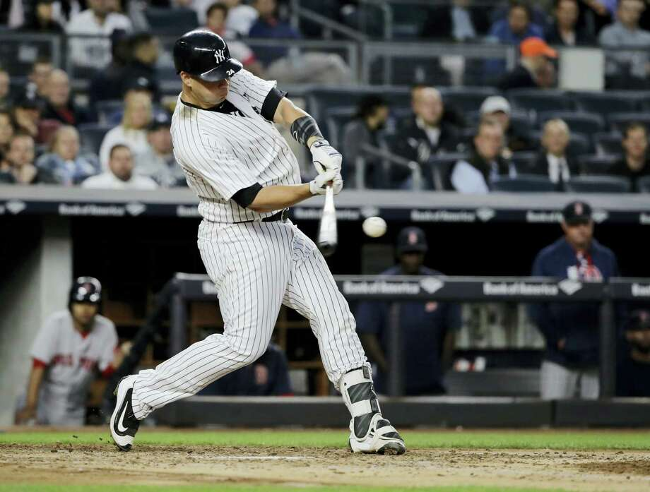 New York's Gary Sanchez hits a three-run home run during the third inning against the Boston Red Sox on Thursday. Sanchez homered twice in the Yankees' 9-1 win over the Red Sox. Photo: Frank Franklin II — THE ASSOCIATED PRESS  / Copyright 2017 The Associated Press. All rights reserved.