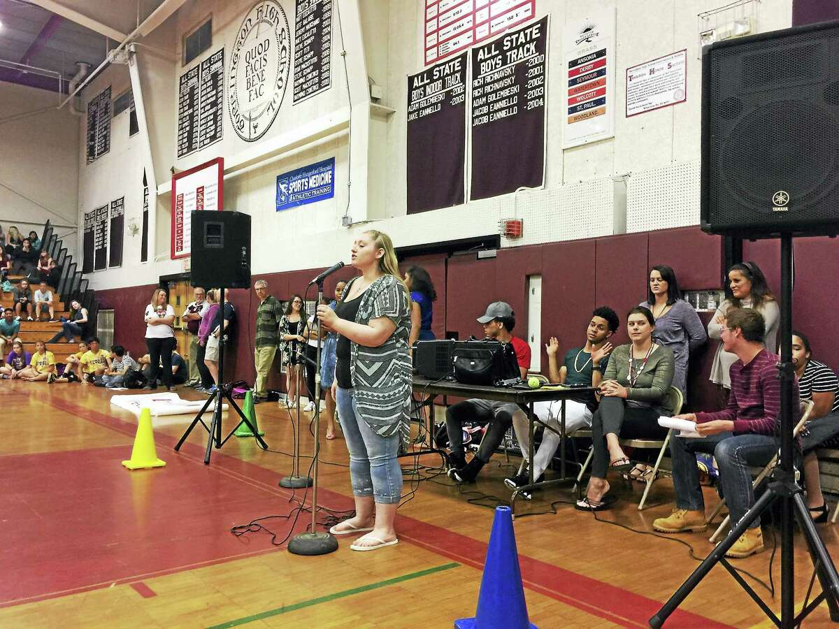 Audrey Todd performs during Diversity Day at Torrington High School.