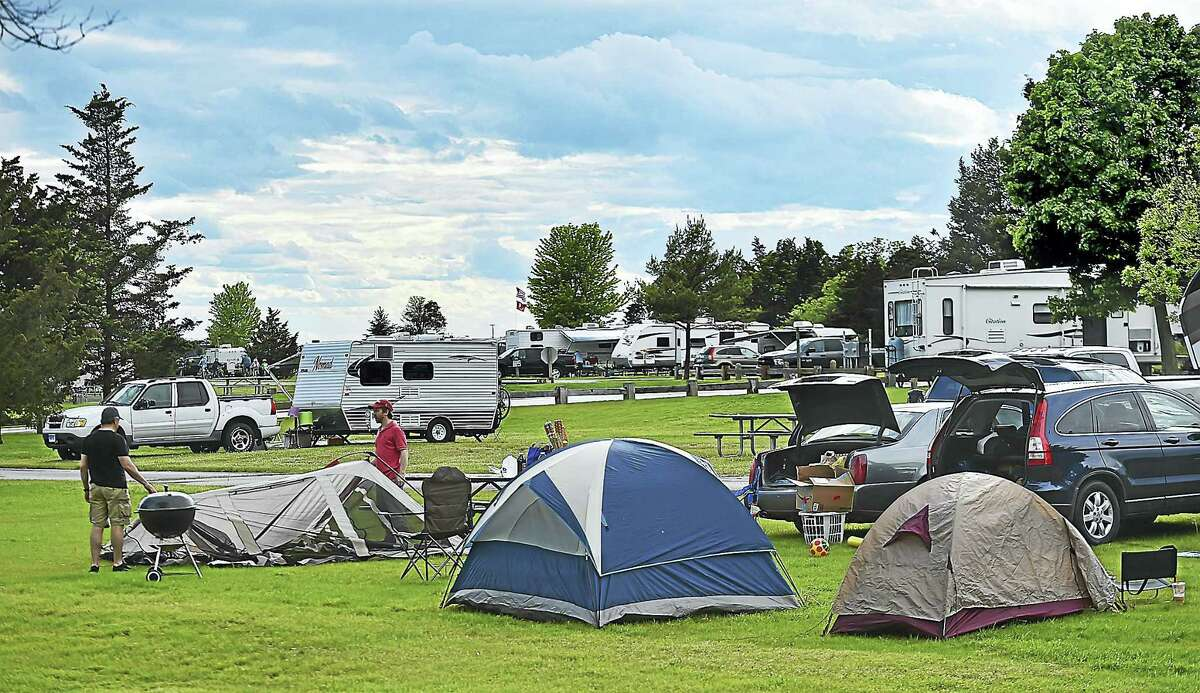 Campers arrive on Memorial Day weekend opening the camping season at Hammonasset Beach Campgrounds at Hammonasset Beach State Park in Madison. (Catherine Avalone — New Haven Register)