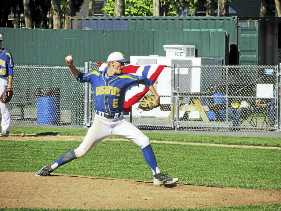 Housatonic's Scott Dignacco pitched five innings in the Mountaineer's no-hit loss to Holy Cross Wednesday afternoon at Bristol's Muzzy Field. Photo: Peter Wallace - For The Register Citizen
