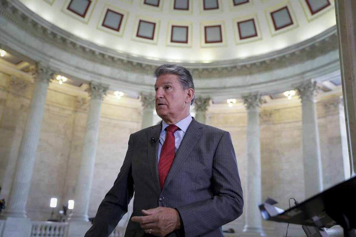 Sen. Joe Manchin, D-W. Va., waits for a television news interview on Capitol Hill in Washington, Tuesday, June 6, 2017.