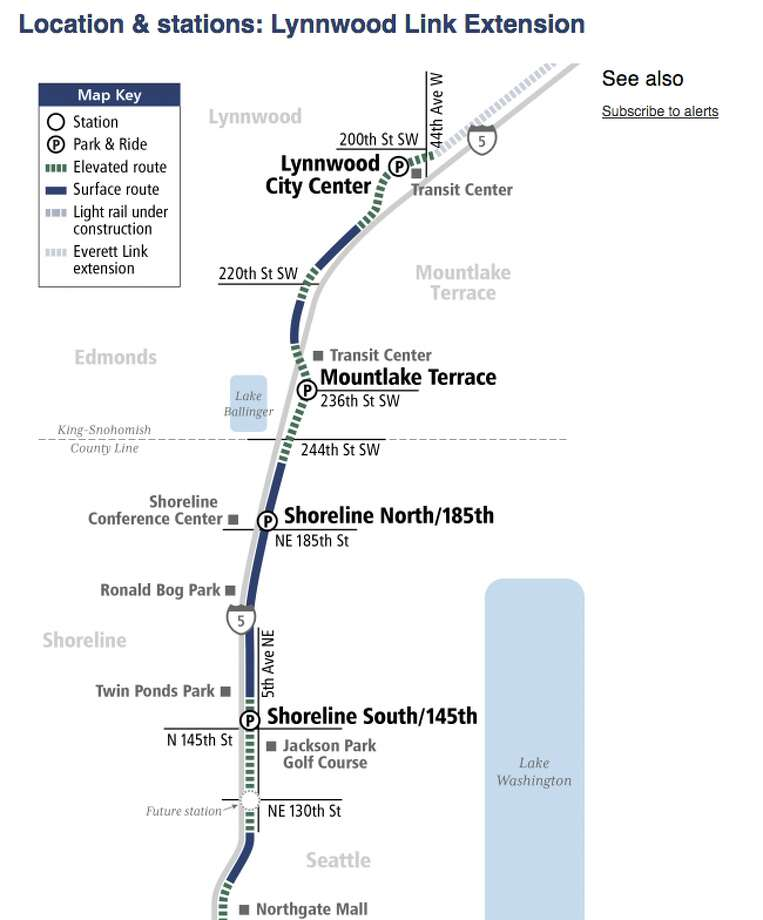 This map shows the planned route of the Lynnwood Link extension. The project will be delayed at least six months and could wind up $500 million over budget if new estimates are accurate. Photo: Sound Transit