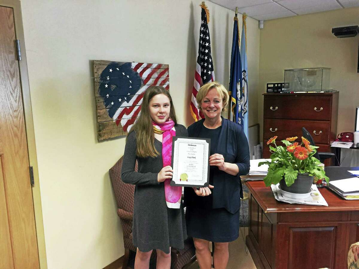 Lexy Cheek, a student at St. Peter/St. Francis, was the Mayor for the Day in Torrington Wednesday. She joined Mayor Elinor Carbone for a tour of the city and lunch at City Hall.