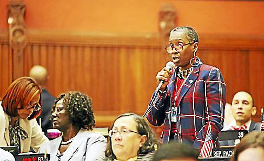 Rep. Robyn Porter, D-New Haven, speaks during the House of Representatives' recent hearing on police misconduct. Photo: Christine Stuart Photo